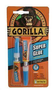 Gorilla 2x3g Tubes Super Glue Adhesive For Metal Plastic Paper Glass Shoe Wood