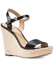 NIB Michael Kors Jill Espadrille Leather Wedge Platform Sandals In Black Size 8