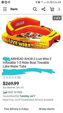 AIRHEAD Live Wire 2 Inflatable 1-2 Rider Boat Towable Lake Water Tube USED!!
