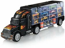 Toy Truck Transport Car Carrier 2-Sided Includes 6 Toy Cars and Accessories