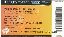 Billete-Hull City v Real Betis 10.08.13 Andy Dawson testimonios