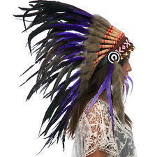 CLEARANCE PRICE! Native American Indian Style Feather Headdress - Purple Rooster