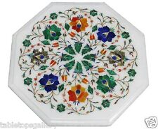 """12"""" Marble Coffee Center Table Top Marquetry Mosaic Inlay Patio Home Decor H1393"""