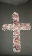 Large Old Handmade Seashell Cross Art Sculpture Unique One of a Kind Sea Shell