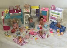 Barbie Babies and Accessories Lot/ Babies Furniture Clothing Bottle Food Extras