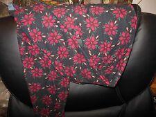 LulaRoe OS Christmas Dark Poinsettia Leggings Red Flower HTF BNWT