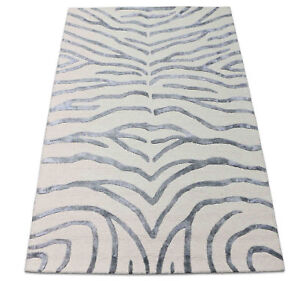 Verona The Wild Rugs Handmade Zebra Print Style Wool & Silk Area RUG & Carpet