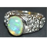 Silver Heavy Ring 9x11 mm Oval Ethiopian Opal Ring Silver Opal Ring For Men