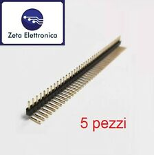 N.5 Connettore strip line 40 pin poli 1 fila angolare 90° altezza 6mm passo 2,54