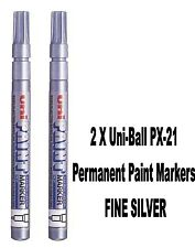 2 X Uni-Ball PX-21 Marcadores De Pintura Permanente Punto Fino Plata 1.2mm Nuevo En Caja