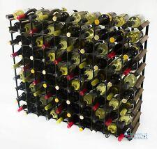 Cranville wine rack storage 90 bottle dark oak stain wood/black metal assembled