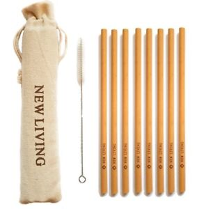 12x Bamboo Straws 20cm, Straw With Cleaner & Carry Case , Reusable UK Seller