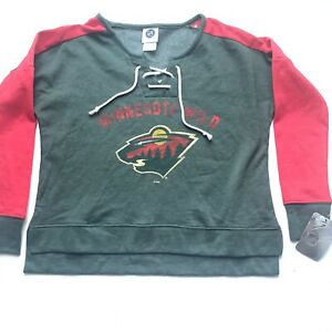NHL Minnesota Wild Women's Green Red Pullover Fleece Lace Sweatshirt Size Small