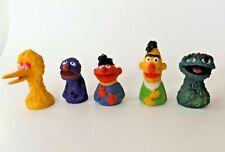 5 Vintage Sesame Street Finger Puppets Bert & Ernie Have Hair Oscar Grover 1970s