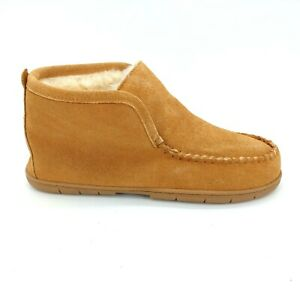 Lands End Mens 501739 Ankle Bootie Slipper Tan Suede Shearling Lined  Sz 10 M