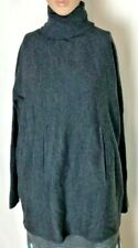 Tahari Women's Oversized Turtleneck Sweater Size XS Charcoal Gray Wool Blend
