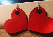 Earrings Hot Red /Black Hearts %100 Real Leather Fashion Brands Designer Earring