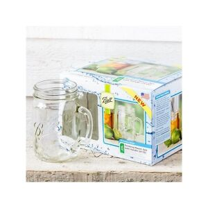 """4 x Handle Drinking (700ml) Jars Embossed With """"Ball Mason"""" Wide Mouth USA!"""