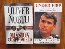 2-OLIVER NORTH  Signed Books(MISSION COMPROMISED/UNDER FIRE-1st  Edit. Hardbacks