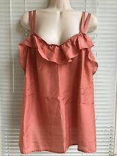 Old Navy Coral Pure Silk Ruffle Double Straps  Top Blouse, Size  Women's Plus 1X