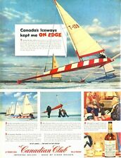 1956 Canadian Club Whiskey Hiram Walker Iceboating on Hamilton Bay PRINT AD