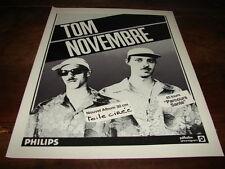 TOM NOVEMBRE - PUBLICITE TOILE CIREE !!!!!!!!!!!!!!