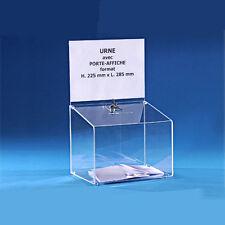 Urna trasparente 25x29x22cm ideale x sondaggi concorsi elezioni raccolta fondi