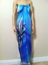 "Gottex Blue Paradise 100% Silk Beach Cover-Up Pareo Over-Sized 53""x 61.5"" NWT"