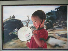 """ORIGINAL oil painting on canvas MY FAN by Wai Ming 24"""" x 36"""" 2004"""