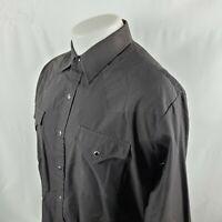 Ely Cattleman Mens Pearl Snap Western Shirt Sz 17-34 Solid Black Cowboy A30-19