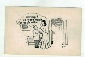 """Vintage Comic Post Card - """"Darling we were made for each other"""""""