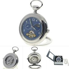 Silver Mechanical Pocket Watch Tourbillon Blue Dial Sun & Moon + Small Second