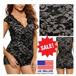 Black Lace Trim Sleeveless V Neck Playsuit Romper Festival Summer Bodysuit M-L