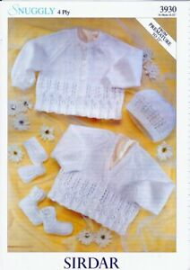 Sirdar Baby Knitting Pattern Cardigans, Hat, Mittens & Bootee 3930 Snuggly 4 Ply