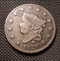 1820 Coronet Head Large Cent, Small Date - Fine F