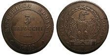 """Seconda Repubblica Romana, 3 Baiocchi 1849 Roma, """"3"""" piatto e stretto al D/"""