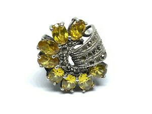Deco Style Sterling Silver Marcasites Citrine Gemstones Cocktail Ring ( Sz. 6)