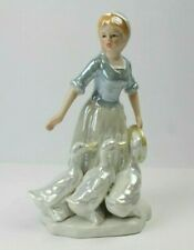 "Vintage Duncan Royale Figurine 8 3/4"" Peasant Girl with Ducks Pale Blue & White"