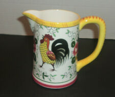 Vintage UCAGCO ROOSTER PITCHER   Small Rooster Pattern 5 Rooster and Roses Pitcher Creamer