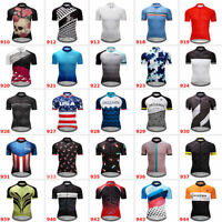 Team Men's Short Sleeve Cycling Jersey Bike Riding Race Maillots Pockets Summer