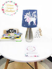 Unicorn Floral Navy Baby Children Nursery Table Lamp Night Light Touch Lam