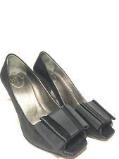 PRADA Women's BLACK SATIN BOW PEEP TOE PUMPS HEELS SZ EU 36 US 5.5
