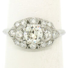 Antique Art Deco Platinum 1.12ctw European Transitional Diamond Engagement Ring