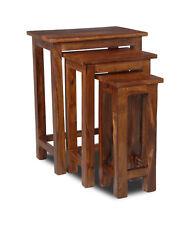LIVING ROOM FURNITURE SHEESHAM NEST OF 3 CHUNKY TABLES (J27)