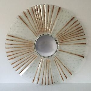 Decorative Wall Mirror Sculpture Textured Glass Brown Tint