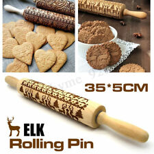 Christmas Rolling Pin Wooden Engraved Embossed Pastry Baking Biscuit Noodle Tool