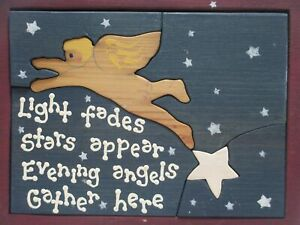 Vintage Wooden Block Puzzle Box Light Stars Angels Block Puzzle Art Deco Folk