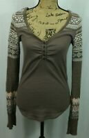 Free People We The Free Thermal Henley Size S Alpine Knit Fair Isle Sleeve