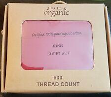 King Sized Bed Sheet Set 100 %Cotton 600 thread True Organic deep red NWT