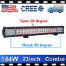 """CREE 23""""IN 144W LED LIGHT BAR SPOT FLOOD WORK LAMP OFFROAD TRUCK 12V24V VS 20/22"""